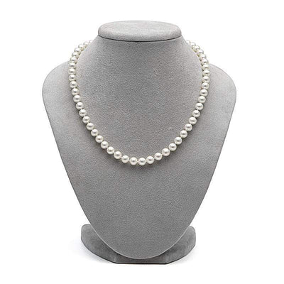 White Freshwater Pearl Necklace, 6.5-7.0mm on Necklace Bust
