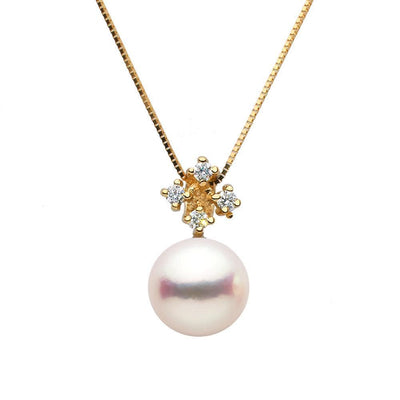White Akoya Pearl and Diamond Elsa Pendant, Sizes: 8.5-9.5mm, 14K Yellow Gold