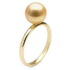 Golden South Sea Pearl Solitaire Ring, Sizes: 10.0-12.0mm, 14K Gold