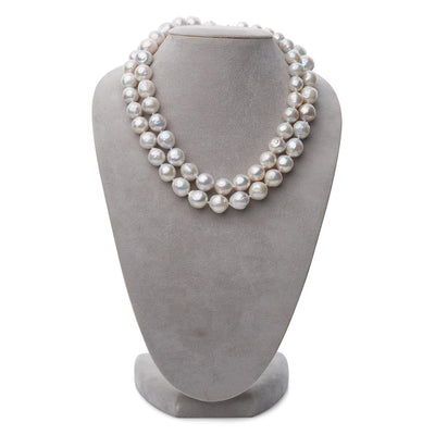 "Large White Freshwater ""Ripple"" Opera Length Pearl Necklace, 11.0-13.0mm"