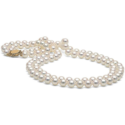 White Akoya Double Strand Pearl Necklace, 7.0-7.5mm, 14K Yellow Gold
