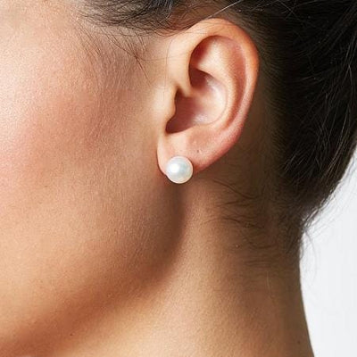 Akoya Pearl Earrings 8.0-8.5mm, as Worn on Model