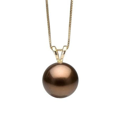 Sold Out! Chocolate Tahitian Pearl Classic Solitaire Pendant, Sizes: 10.0-12.0mm
