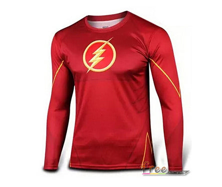 Mens Long Sleeve Fitness Shirt - The Flash