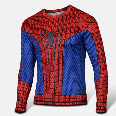 Mens Long Sleeve Fitness Shirt - Spiderman