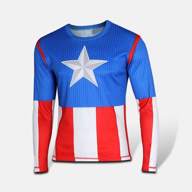 Mens Long Sleeve Fitness Shirt - Captain America Classic