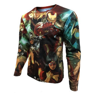 Mens Long Sleeve Fitness Shirt - Marvel Collage
