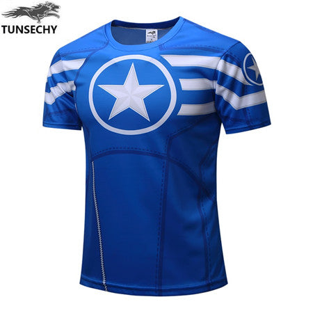 Mens Fitness T Shirt - Captain America Blue