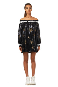 Off-shoulder Star Sequin Minidress