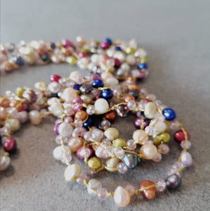 Colourful multiple rows of pearls handmade necklace