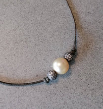 South sea natural golden colour round pearl 12-13mm, leather choker