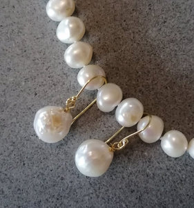 Dangle earrings, Large Edison white freshwater pearls 12-13mm