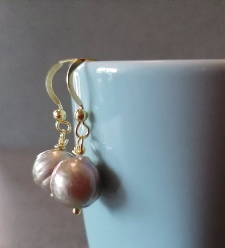 Like kasumi silver gold tone freshwater pearls earring 9mm