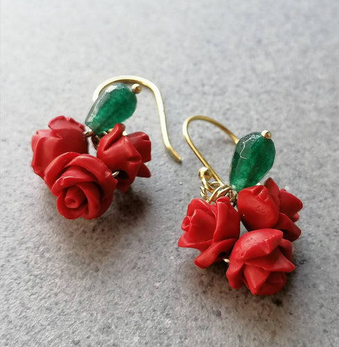 Rose wine earrings