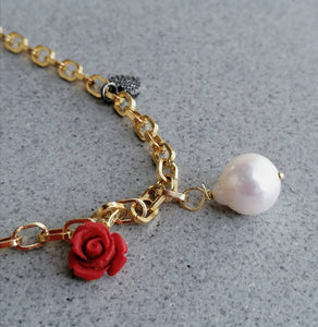 Rose, pear and heart charms chain necklace