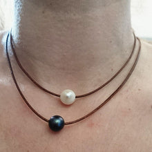 Double Freshwater Pearl & Leather Necklace, Choker