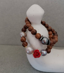 Set two sandalwood boho natural pearl stretch bracelets