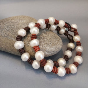 Freshwater Pearl and Leather Bracelet, boho, beach style