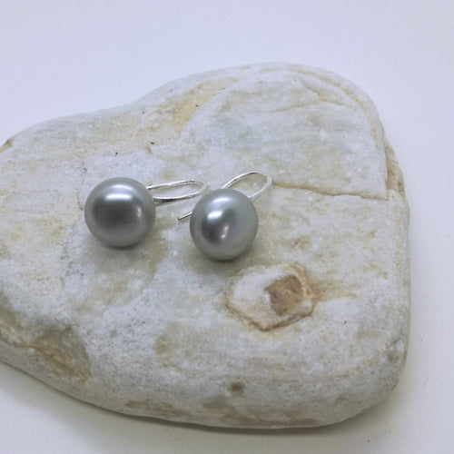 Genuine 11-12 mm Freshwater Gray button freshwater Pearl hook Earring