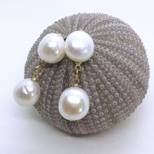 Huge white dangle freshwater pearl earrings
