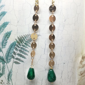 Green Agate Gold Plated Dangle Earrings