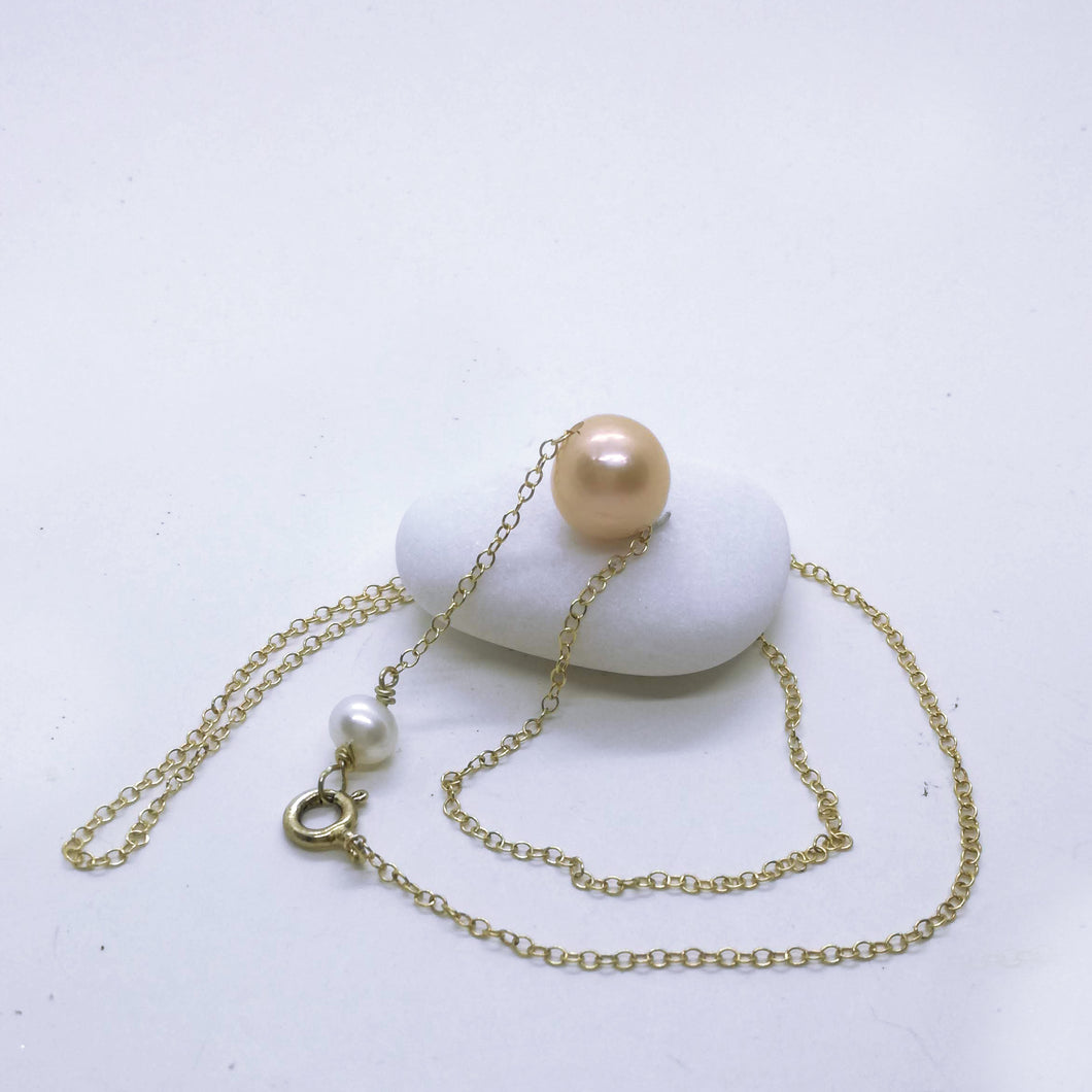 Solitaire Single Floating Peach edison pearl Necklace, One Single Pearl
