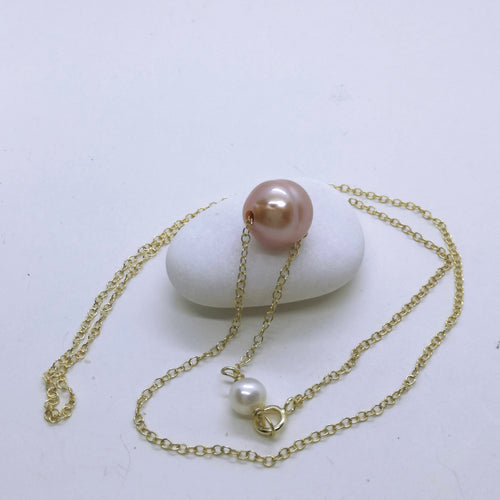 Solitaire Single Floating Lavender  edison pearl Necklace, One Single Pearl