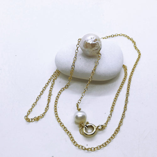 Solitaire Single Floating White edison pearl Necklace, One Single Pearl