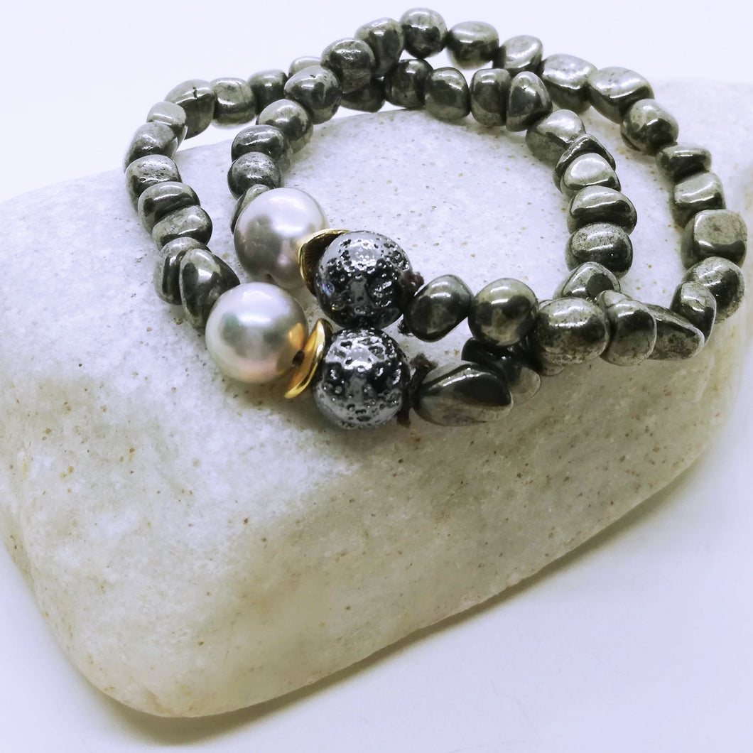 boho style, Natural gemstone bracelet with pearl 10-11mm