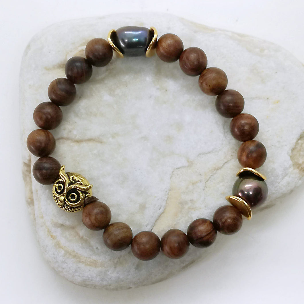 Bohemian black pearl sandalwood bracelet with a owl