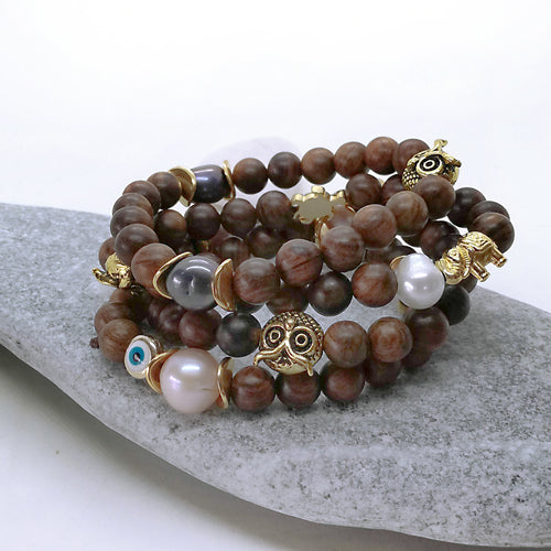 Edison Pearl Bracelet, Natural Sandalwood, Stretch Bracelet, Beaded Bracelet