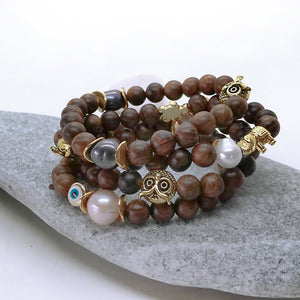 Bohemian pearl sandalwood bracelet with evil eye