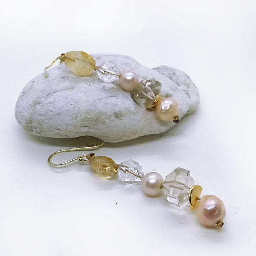 November Birthstone Citrine with quartz and edison pearls, Teardrop Dangle Earrings