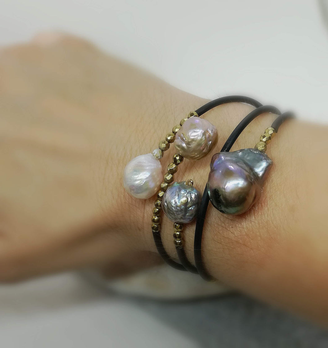 Edison pearl memory wire rubber bangle bracelet