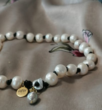 Pearl leather necklace set with charm