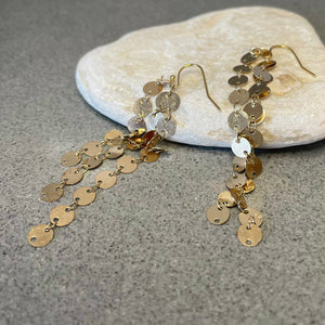 Long golden dangle earrings