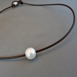 Freshwater Pearl & Leather Necklace, Choker