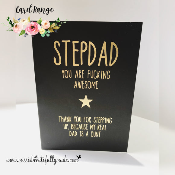Step dad card - Gold foil