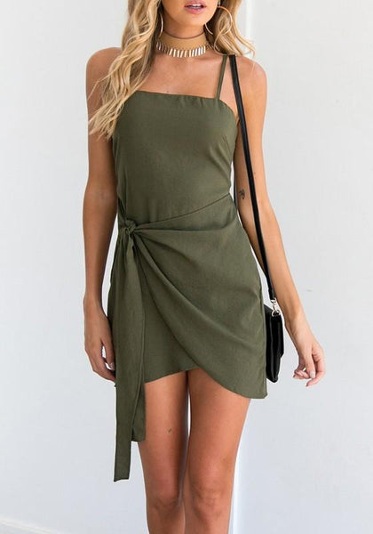 Army Green Drawstring Cut Out Irregular Zipper Mini Dress