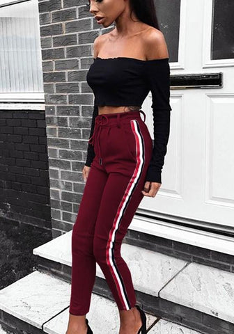 New Wine Red Striped Drawstring Pockets Casual Long Pants