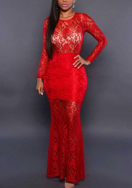 Red Floral Lace Backless Lace-up Mermaid Prom Homecoming Party Maxi Dress