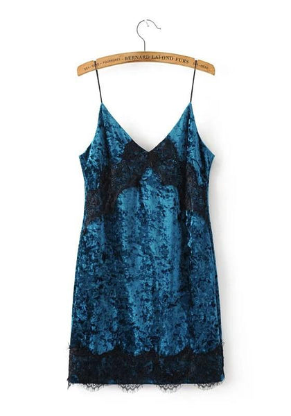 Peacock Blue Patchwork Lace Spaghetti Strap Pleuche Bodycon V-neck Club Mini Dress