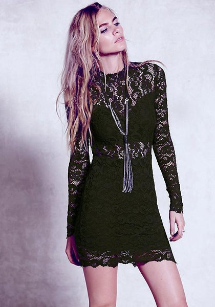 Black Patchwork Hollow-out Lace Round Neck Mini Dress