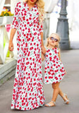 Red Floral Draped V-neck Elbow Sleeve Maxi Dress