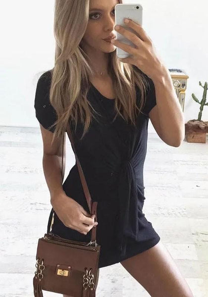 Black Pleated Irregular Round Neck Short Sleeve Loose Mini Dress