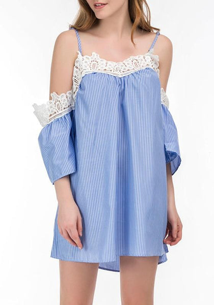 Blue-White Striped Lace Hollow-out Spaghetti Strap Mini Dress