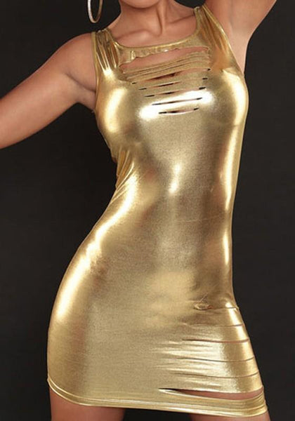 Golden Plain Hollow-out Square Neck Sleeveless Bodycon Club Mini Dress