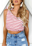 Red Striped Asymmetric Shoulder Bow Midriff Fashion Vest