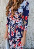 Light Blue Floral V-neck 3/4 Sleeve Fashion Maxi Dress