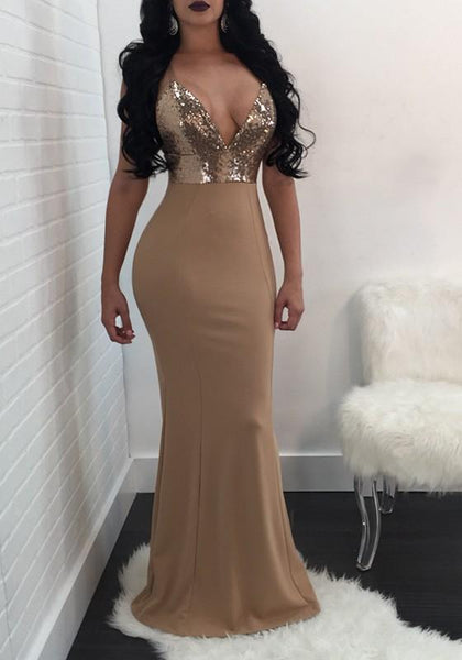 Apricot Patchwork Sequin Spaghetti Strap Mermaid Deep V-neck Bodycon Cocktail Party Maxi Dress
